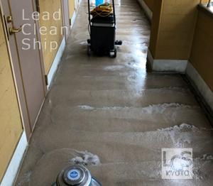 上京区マンション共用廊下洗浄