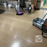 施設の床面洗浄ワックス施工前