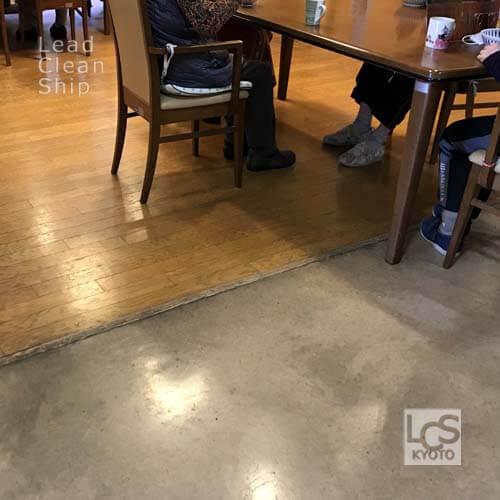 廊下と食堂のワックス剥離前