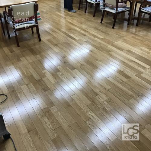 福祉施設さま:床洗浄ワックス塗布:滋賀県2
