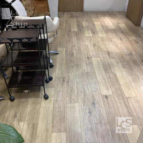京都市中京区の美容室さま床洗浄ワックス1